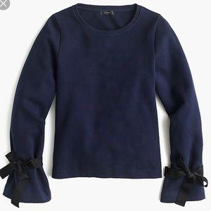 New J Crew Tie-Sleeve Sweatshirt XS Navy Sweater